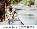 tourist traveler on background... | Shutterstock . vector #1030290850