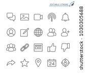 social network line icons.... | Shutterstock .eps vector #1030305688