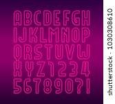 neon lamp alphabet font. neon... | Shutterstock .eps vector #1030308610