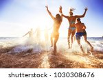 big crowd of friends having fun ... | Shutterstock . vector #1030308676