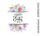 happy easter greeting card with ... | Shutterstock .eps vector #1030315423