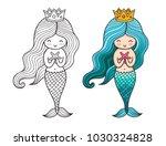 little queen mermaid with... | Shutterstock .eps vector #1030324828