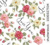 seamless pattern with roses   Shutterstock .eps vector #1030327534