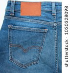 denim blue jeans back side with ... | Shutterstock . vector #1030328098