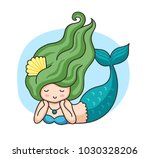 lying mermaid with green wavy... | Shutterstock .eps vector #1030328206