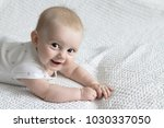 cute little baby on the light... | Shutterstock . vector #1030337050