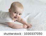 cute little baby on the light... | Shutterstock . vector #1030337050