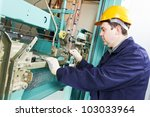 one machinist worker at work... | Shutterstock . vector #103033964