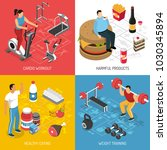 fitness cardio workout strength ... | Shutterstock .eps vector #1030345894
