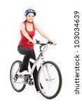 Female Biker With Helmet Posing ...