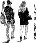 sketch of a couple of young... | Shutterstock .eps vector #1030347394