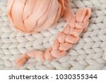a ball of thick yarn and a... | Shutterstock . vector #1030355344
