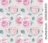 seamless watercolor pink roses... | Shutterstock . vector #1030364353