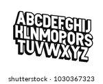 3d vector font alphabet.  | Shutterstock .eps vector #1030367323