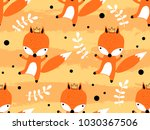 seamless pattern with cute fox... | Shutterstock .eps vector #1030367506