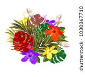 tropical bouquet of hibiscus... | Shutterstock .eps vector #1030367710