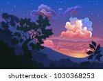 vector illustration of sky.... | Shutterstock .eps vector #1030368253