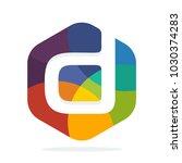 logo icon hexagon shape with... | Shutterstock .eps vector #1030374283