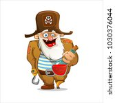 old pirate with a wooden leg... | Shutterstock .eps vector #1030376044