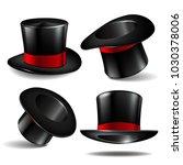 set of black magician cylinder... | Shutterstock .eps vector #1030378006