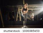 beautiful muscular woman... | Shutterstock . vector #1030385653