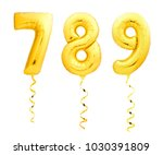 golden numbers 7  8  9 made of... | Shutterstock . vector #1030391809