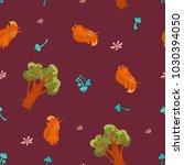 pattern of squirrel  mushroom ... | Shutterstock .eps vector #1030394050