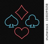neon playing cards symbols ... | Shutterstock .eps vector #1030395058