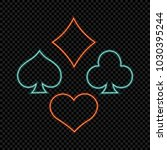 neon playing cards symbols on... | Shutterstock .eps vector #1030395244