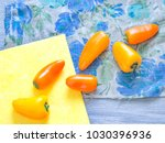 colorful little bell peppers on ... | Shutterstock . vector #1030396936