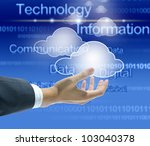 businessman hand with cloud computing concept - stock photo