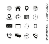 set of contact us icons | Shutterstock .eps vector #1030406020