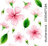 cherry blossom. seamless... | Shutterstock .eps vector #1030407184