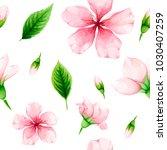 cherry blossom. seamless... | Shutterstock .eps vector #1030407259