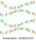 man   woman running. set of... | Shutterstock .eps vector #1030413724