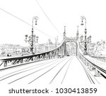 the bridge of freedom. budapest.... | Shutterstock .eps vector #1030413859