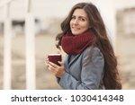 beautiful woman with long hair...   Shutterstock . vector #1030414348