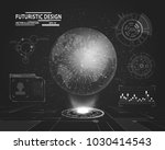 planet hologram with futuristic ... | Shutterstock .eps vector #1030414543