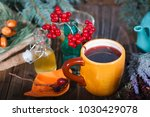 herbal tea from the viburnum... | Shutterstock . vector #1030429078