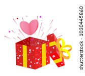 red gift box with ribbon .... | Shutterstock .eps vector #1030445860
