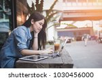 young asian hipster woman enjoy ... | Shutterstock . vector #1030456000