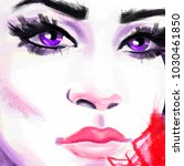 woman face. hand painted... | Shutterstock . vector #1030461850