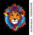 colorful kind wise lion... | Shutterstock .eps vector #1030462498