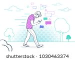 man walking outdoors in park... | Shutterstock .eps vector #1030463374