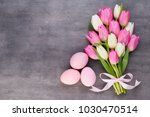 pink tulip and ribbon  pink eeg.... | Shutterstock . vector #1030470514