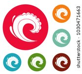 wave water surfing icons circle ... | Shutterstock .eps vector #1030471663