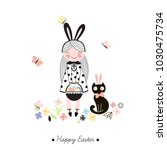 cute happy easter girl ... | Shutterstock .eps vector #1030475734
