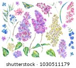 set of watercolor spring nature ... | Shutterstock . vector #1030511179