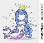little mermaid with unicorn art ... | Shutterstock .eps vector #1030515214