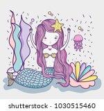 little mermaid art cartoon | Shutterstock .eps vector #1030515460